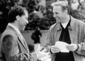 С Кевином Костнером на съемках драмы «Ради любви к игре» (1999)