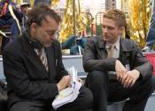 С Тофером Грейсом на съемках «Человек-Паук: Враг в отражении» (2007)