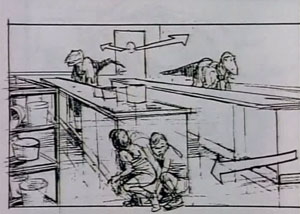 Эскиз Спилберга с кухней