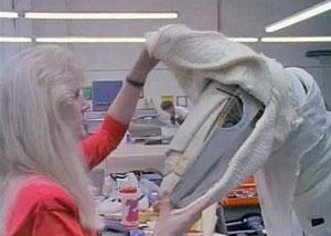 Шкура на скелете динозавра